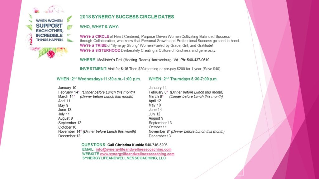 2018 SYNERGY SUCCESS CIRCLE DATES